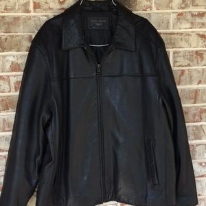 2XL 100% Black Leather Docker Jacket